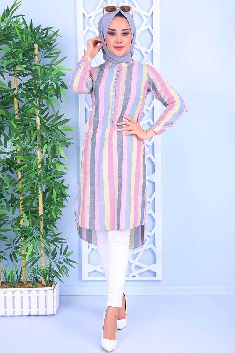 Bigdart Tesettür Pembe Şeritli Tunik Modelleri