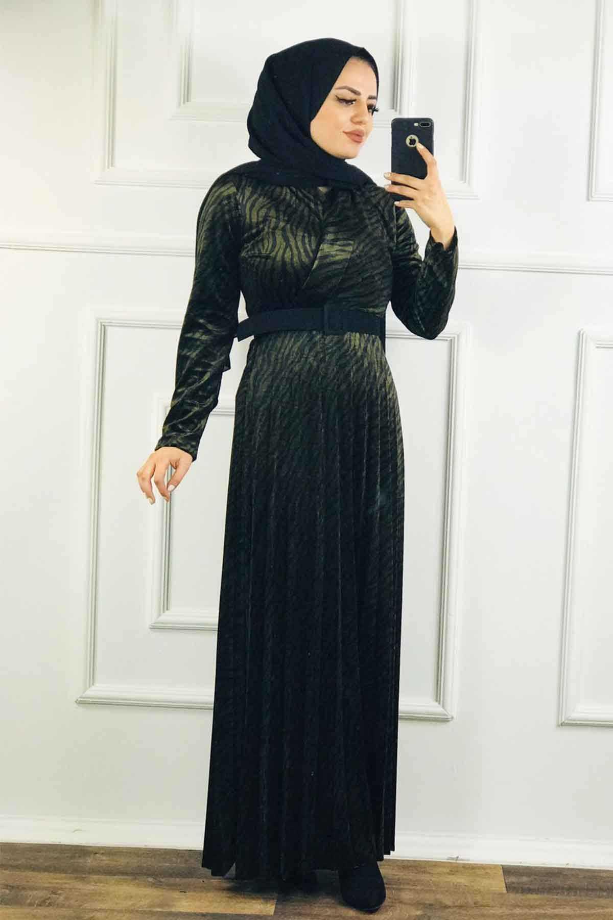 Ermi Tekstil Tesettür Kadife Elbise Modelleri