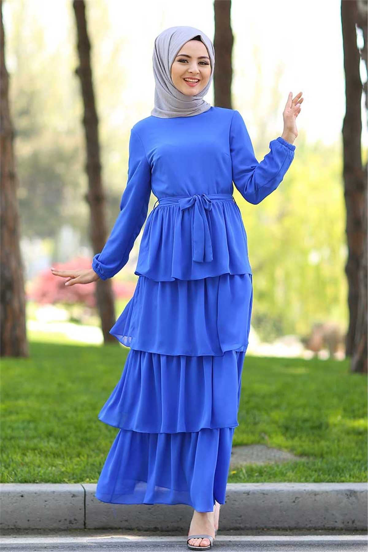 Ermi Tekstil Tesettür Mavi Elbise Modelleri