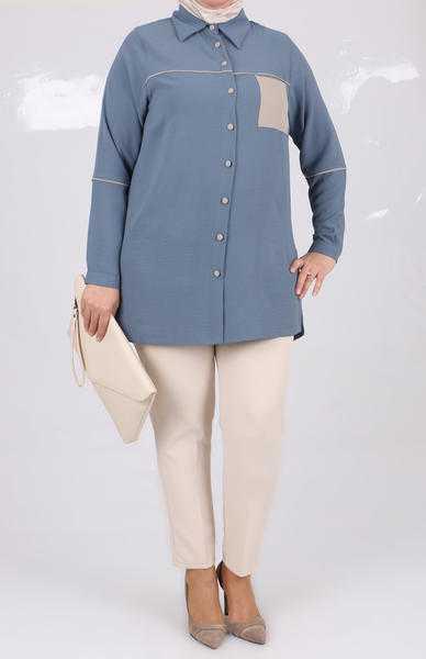 Eslina Moda Büyük Beden Tesettür Gömlek Modelleri