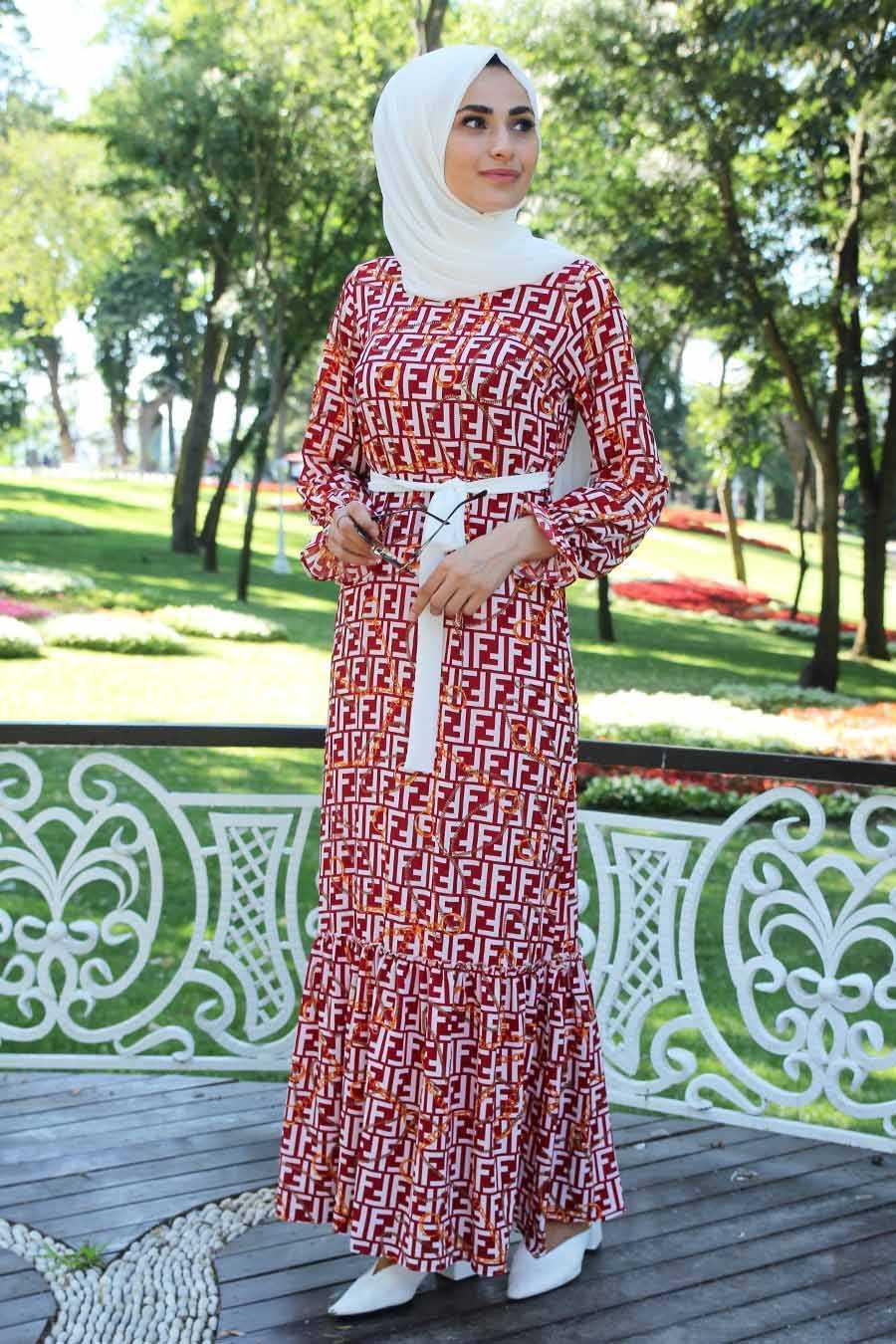 Feiza Collection Tesettür Kırmızı Dersenli Elbise Modelleri