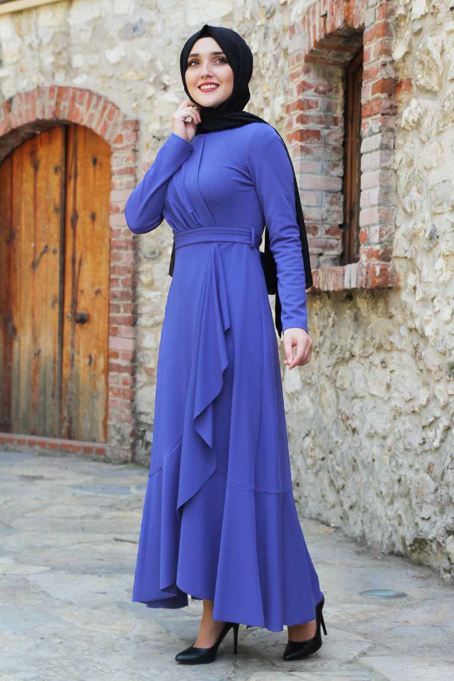 Feiza Collection Tesettür Mavi Elbise Modelleri