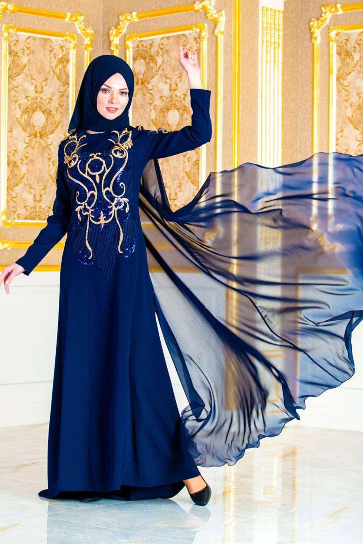 Fly Şal Kombinli İşlemeli Tesettür Abiye Elbise Modelleri