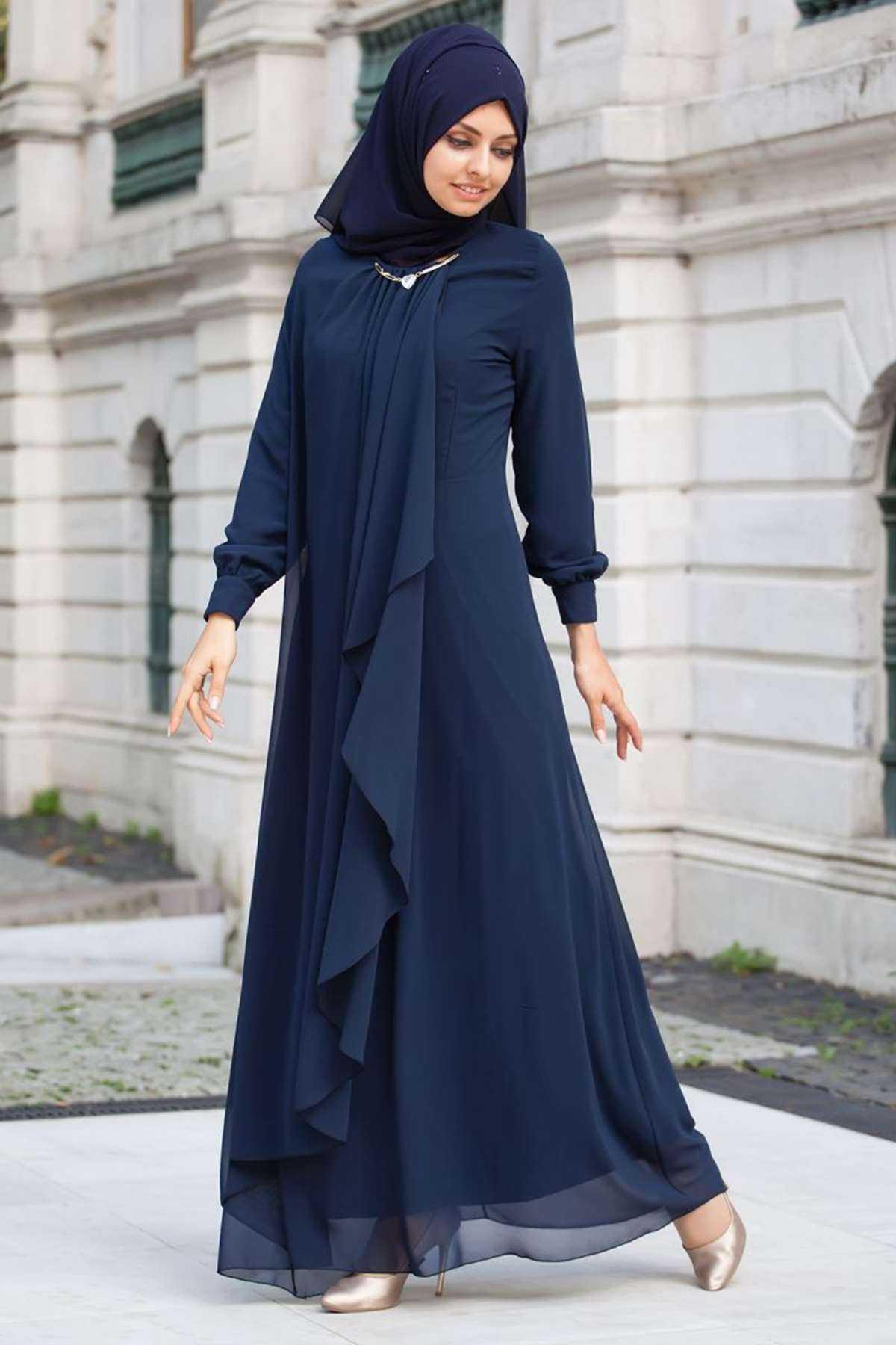 Fly Şal Kombinli Tesettür Abiye Elbise Modelleri