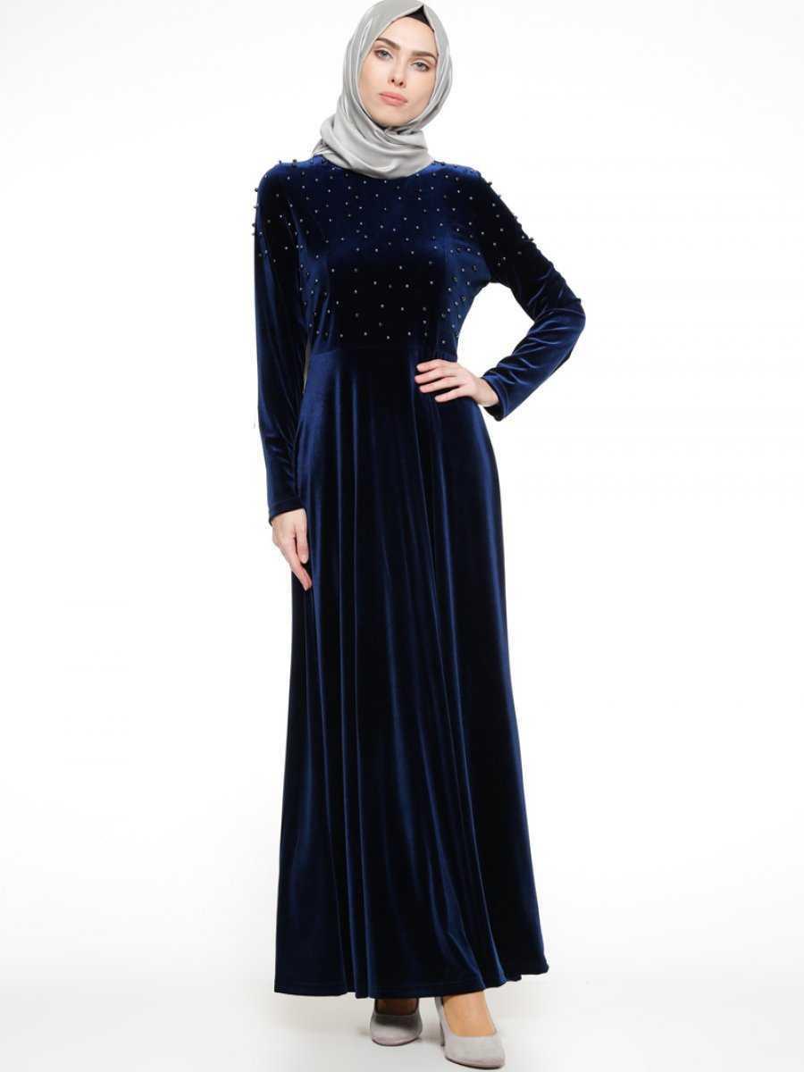 Ginezza İnci Detaylı Tesettür Kadife Elbise Modelleri