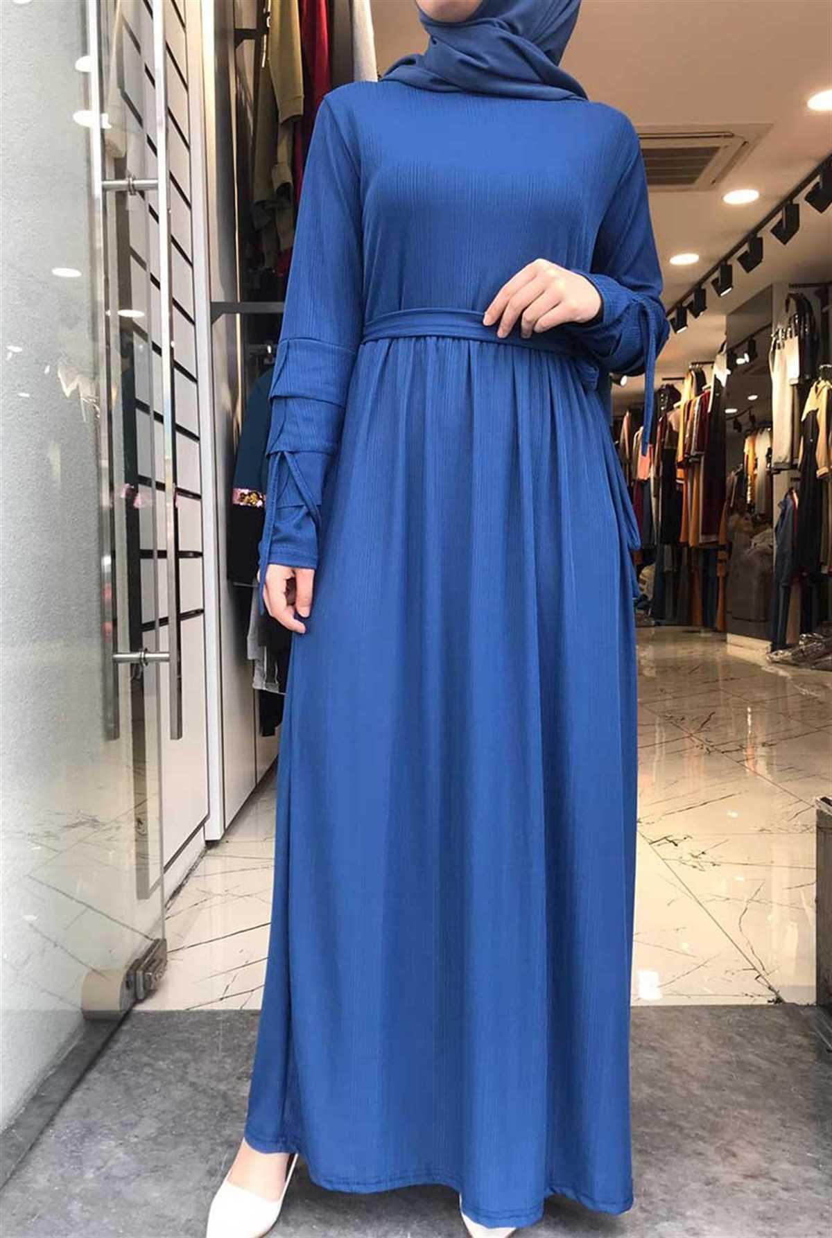 Gizemsmoda Tesettür Günlük Mavi Elbise Modelleri
