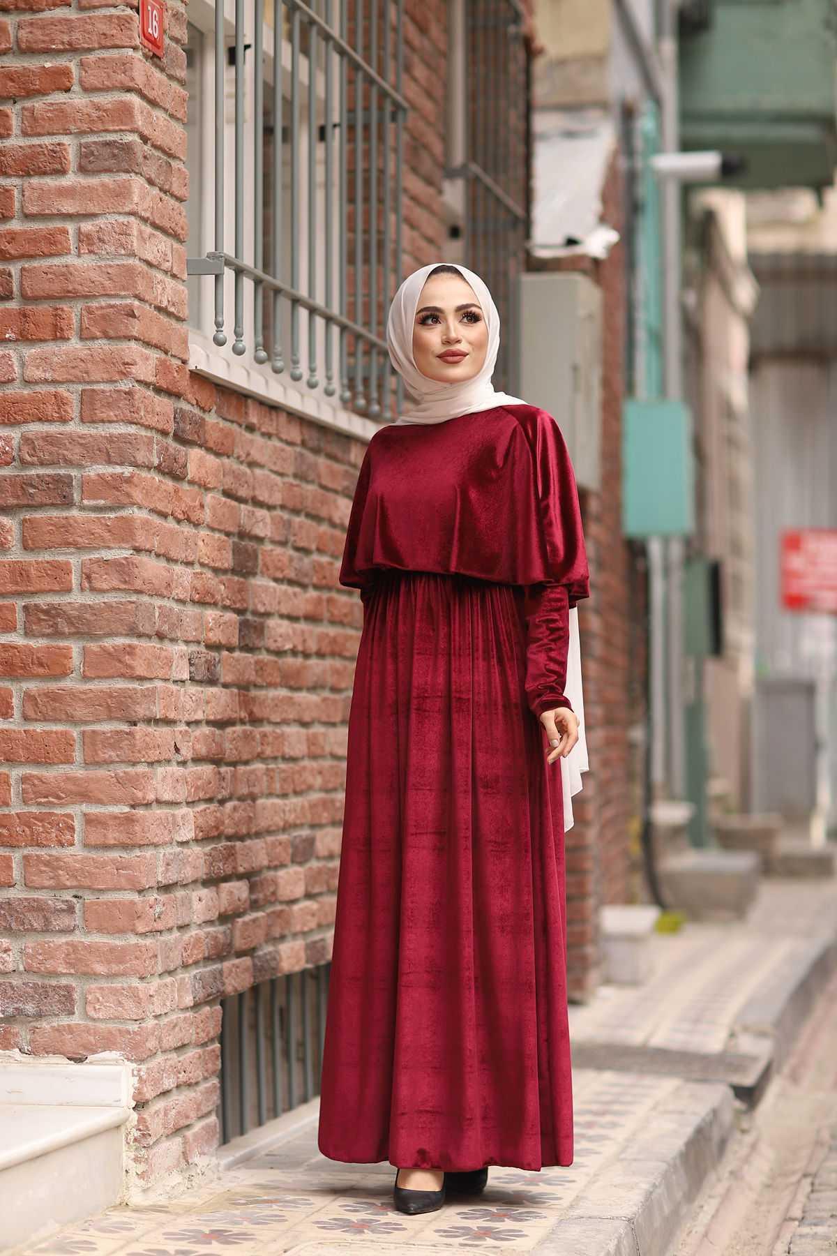 HF Moda Tesettür Kadife Elbise Modelleri