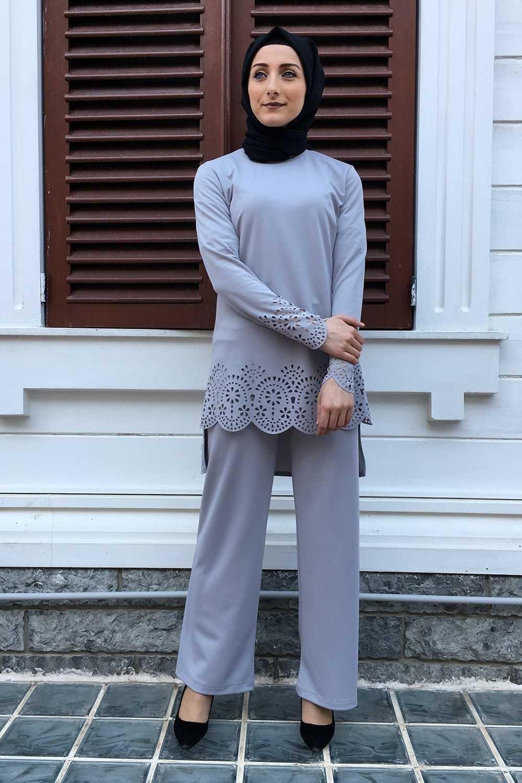 Kiraz Giyim Lazer Kesim Tesettür Takım Modelleri