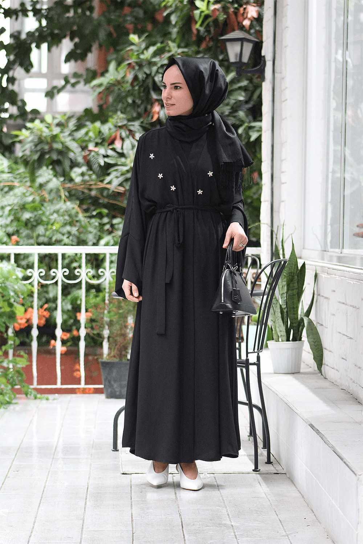 Melike Tatar Tesettür Taşlı Abaya Modelleri