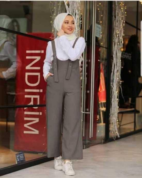 Moda Bahar Tesettür Askılı Tulum Modelleri