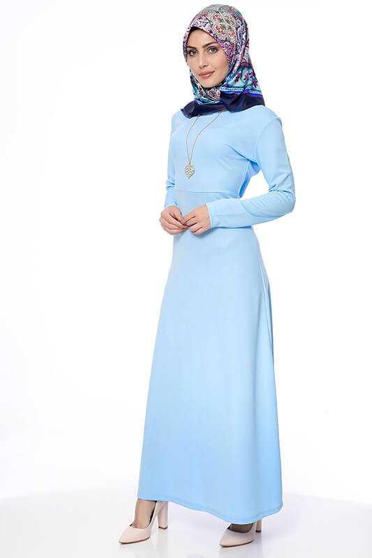 Moda Berfu Tesettür Mavi Elbise Modelleri