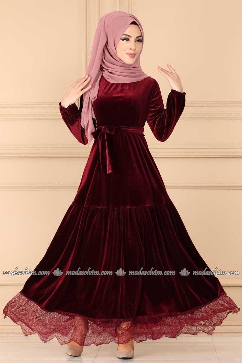 Moda Selvim Tesettür Dantelli Kadife Elbise Modelleri