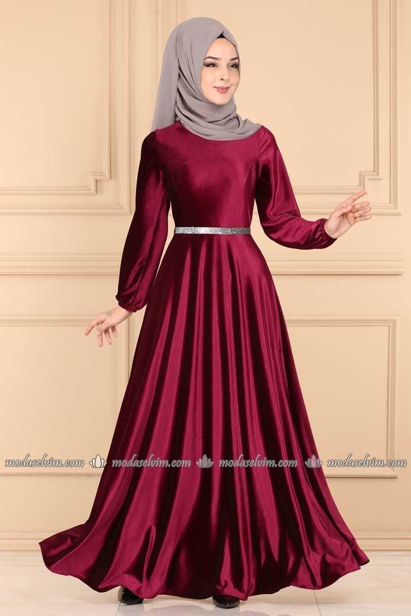 Moda Selvim Tesettür Kadife Elbise Modelleri