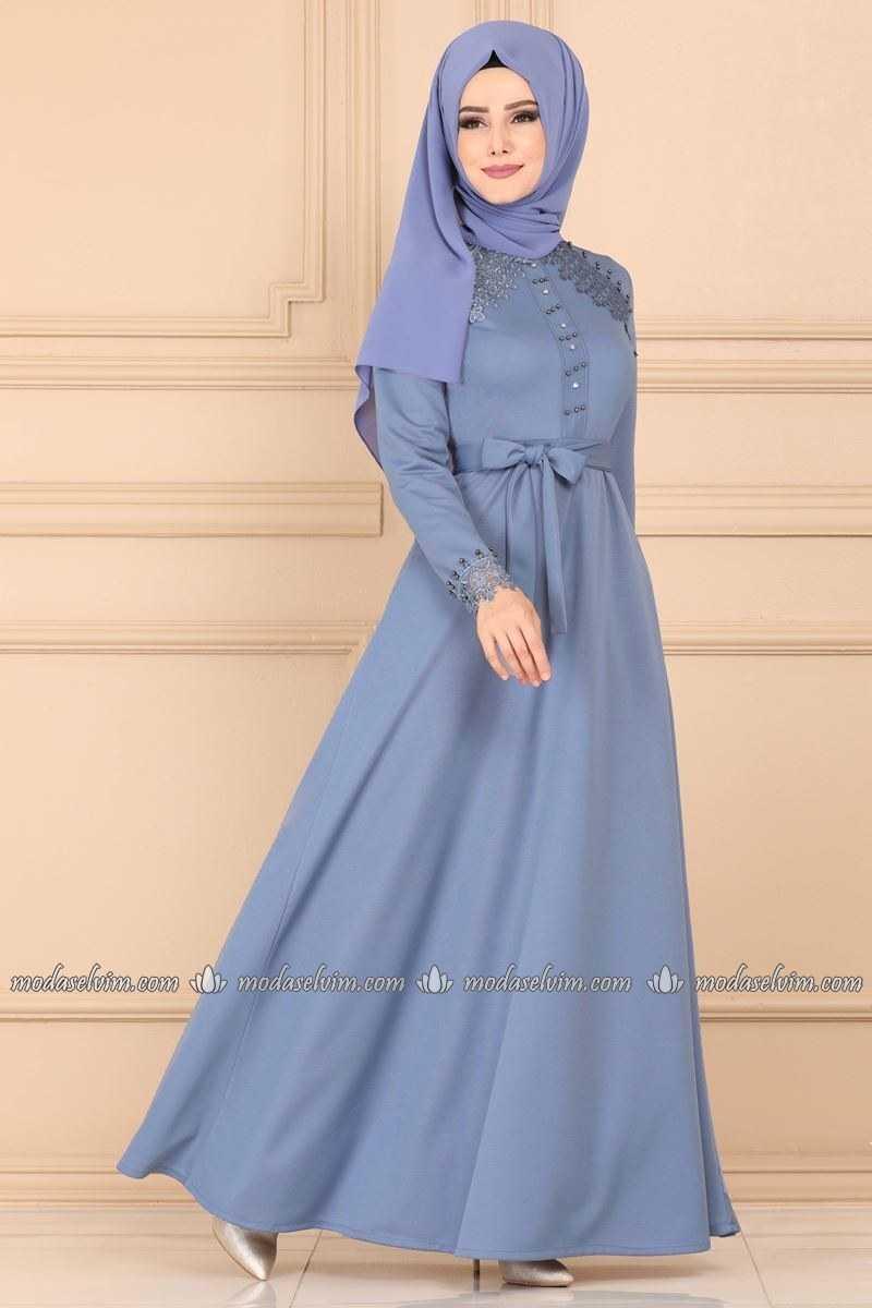 Moda Selvim Tesettür Mavi Elbise Modelleri