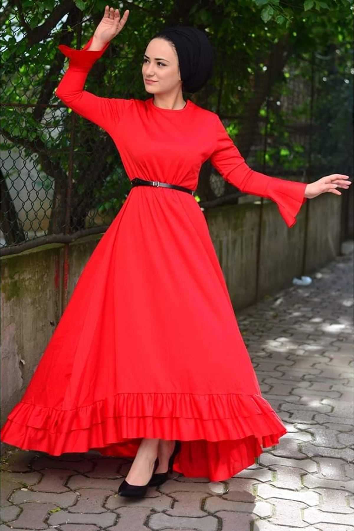 ModaOnur Tesettür Kırmızı Elbise Modelleri