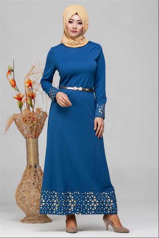 Modaebva Tesettür İşlemeli Mavi Elbise Modelleri
