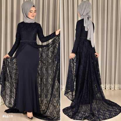 Modahira Güpür Pelerinli Tesettür Abiye Elbise Modelleri