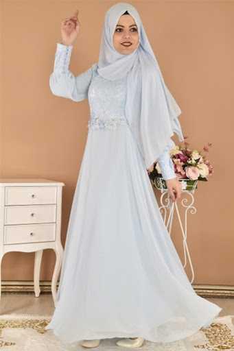 Modamerve Şal Kombinli Tesettür Abiye Elbise Modelleri