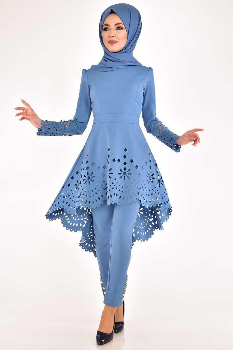 Modamerve Lazer Kesim Mavi Tesettür Takım Modelleri