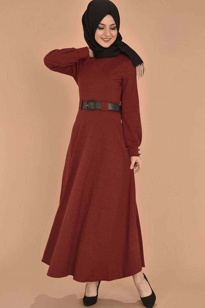 Modamerve Tesettür Kazayağı Desenli Kırmızı Elbise Modelleri