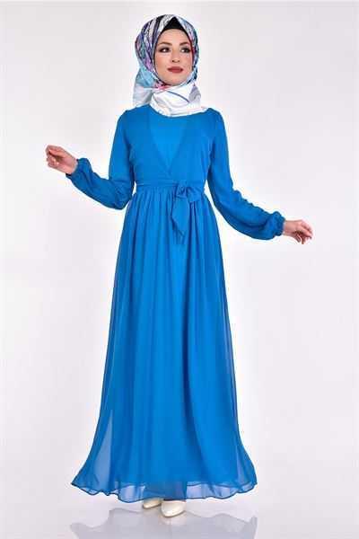 Modamerve Tesettür Mavi Elbise Modelleri