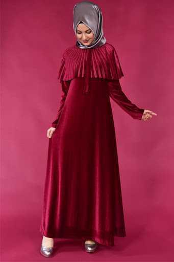 Modamerve Tesettür Pelerin Kadife Elbise Modelleri
