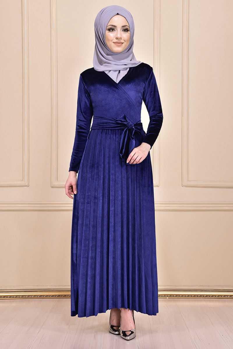 Modamerve Tesettür Piliseli Kadife Elbise Modelleri
