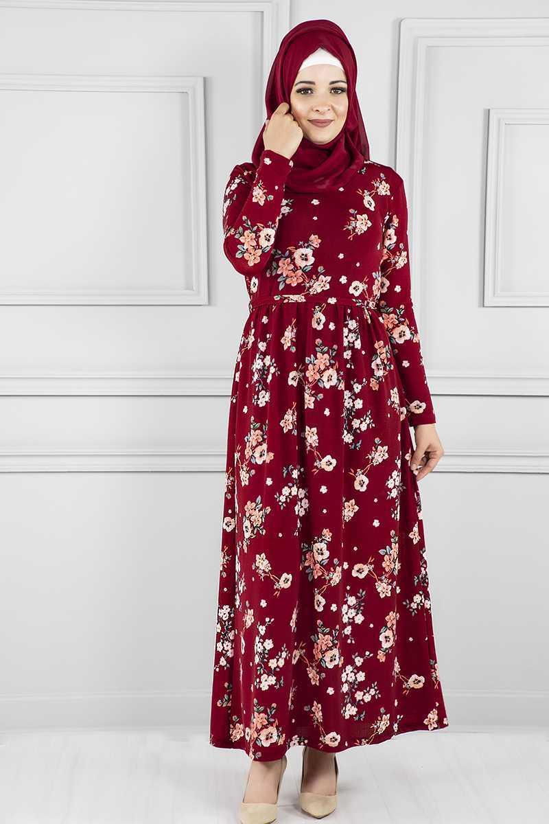Modanoiva Tesettür Desenli Kırmızı Elbise Modelleri