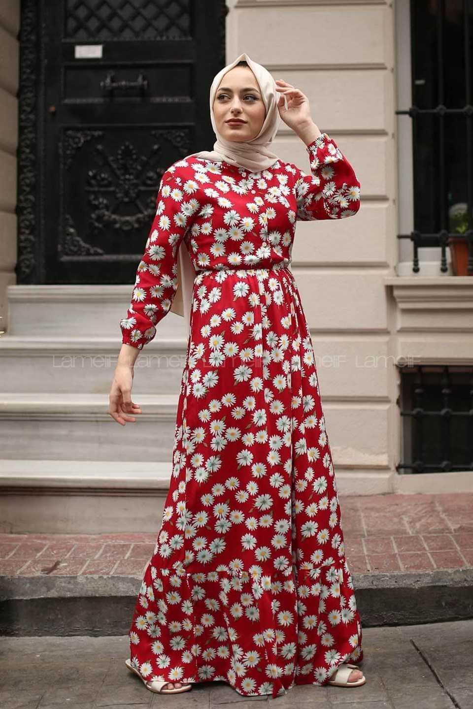 Modaperiy Tesettür Kırmızı Elbise Modelleri