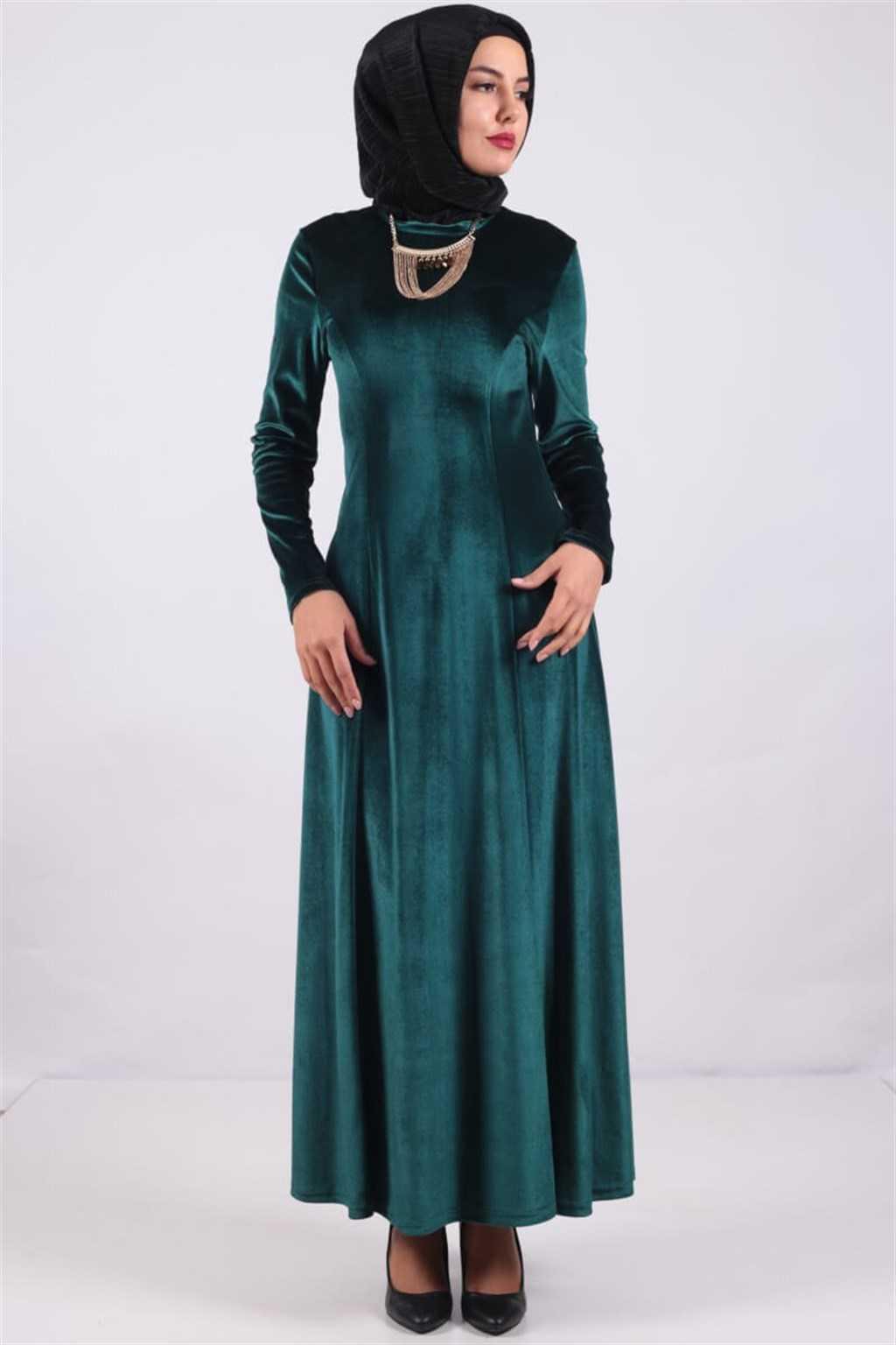 Modaperiy Tesettür Kadife Elbise Modelleri