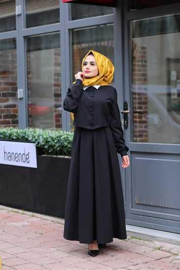 Modaperiy Tesettür Siyah Etek Gömlek Modelleri