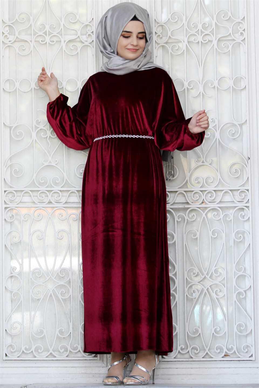 Modavina Tesettür Kadife Elbise Modelleri