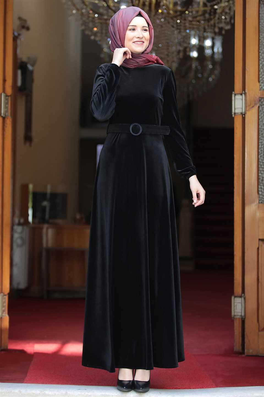 Modavina Tesettür Kemerli Kadife Elbise Modelleri