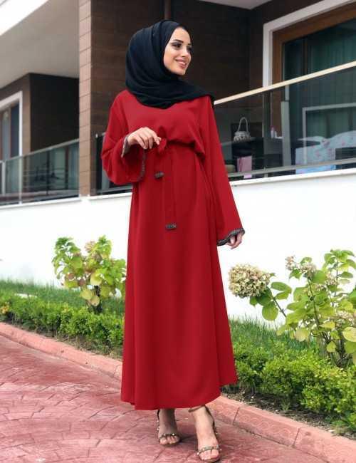 NS Suud Tesettür Kırmızı Elbise Modelleri