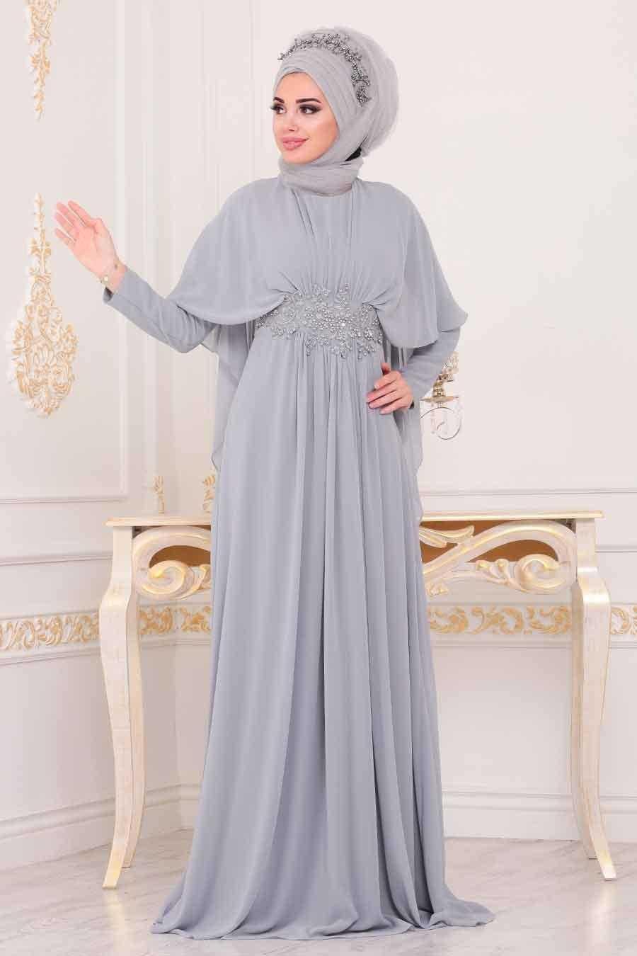 Nayla Collection Şal Kombinli Tesettür Abiye Elbise Modelleri