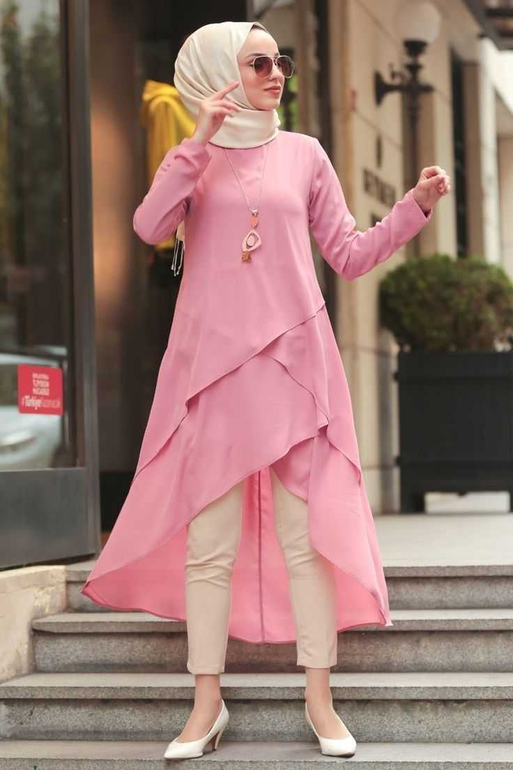 Nayla Collection Tesettür Pembe Özel Tunik Modelleri