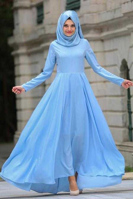 Neva Style Tesettür Bebe Mavisi Elbise Modelleri