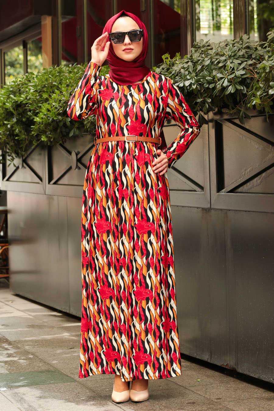 Neva Style Tesettür Desenli Kırmızı Elbise Modelleri