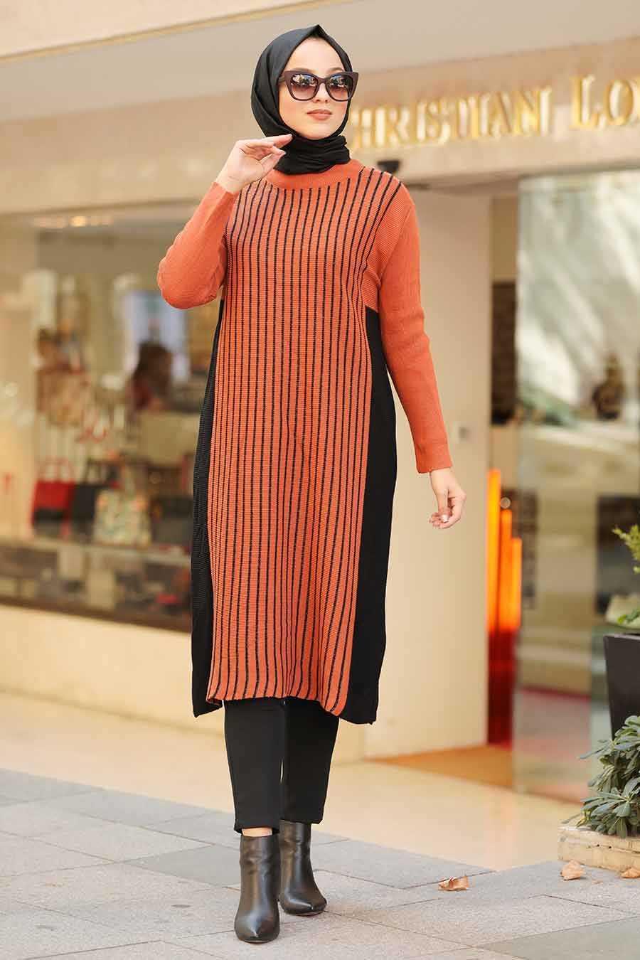Neva Style Tesettür Desenli Triko Tunik Modelleri