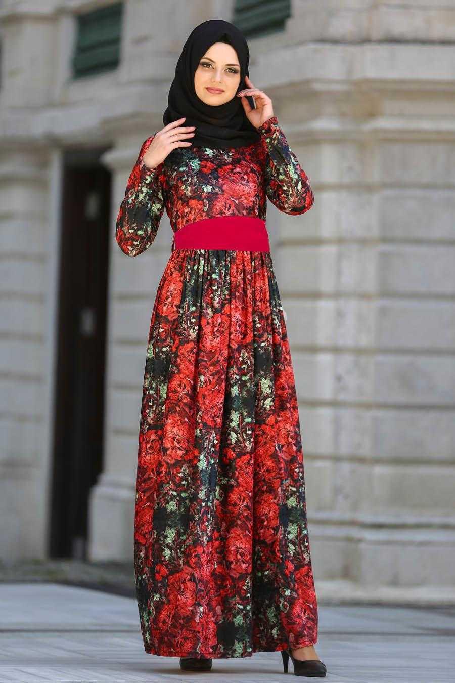 Neva Style Tesettür Kırmızı Desenli Elbise Modelleri