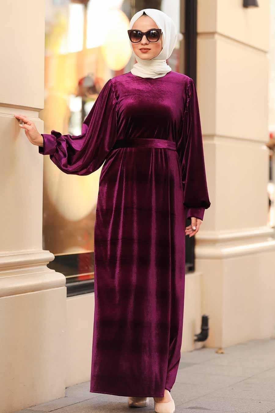 Neva Style Tesettür Kadife Elbise Modelleri