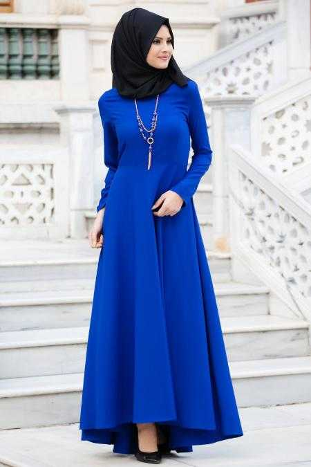 Neva Style Tesettür Saks Mavisi Elbise Modelleri