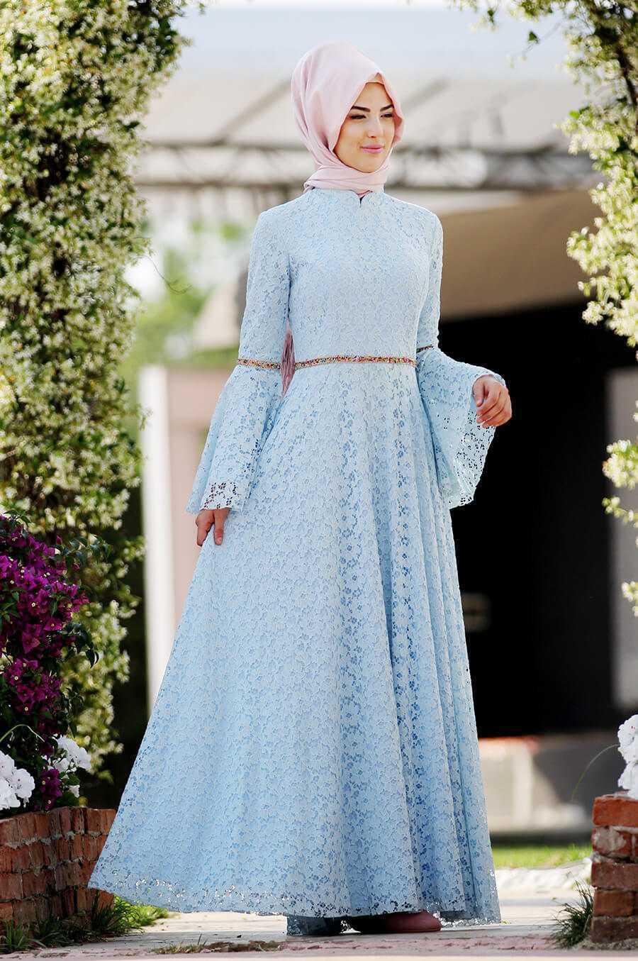 Nurkombin Tesettür Güpürlü Mavi Elbise Modelleri