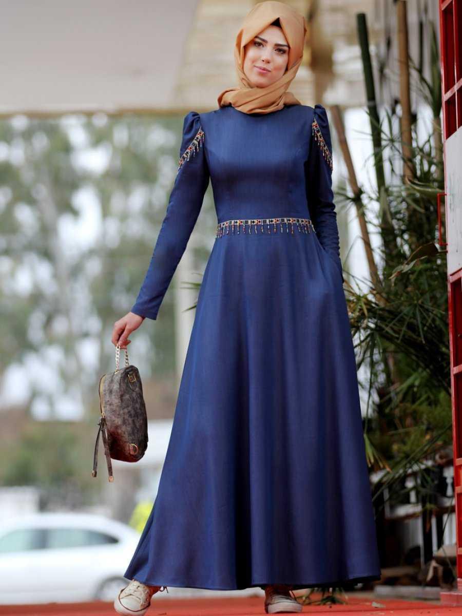 Nurkombin Tesettür Mavi Kot Elbise Modelleri