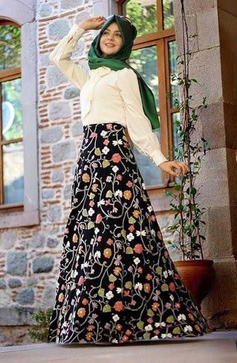 Pınar Şems Çiçekli Tesettür Etek Modelleri
