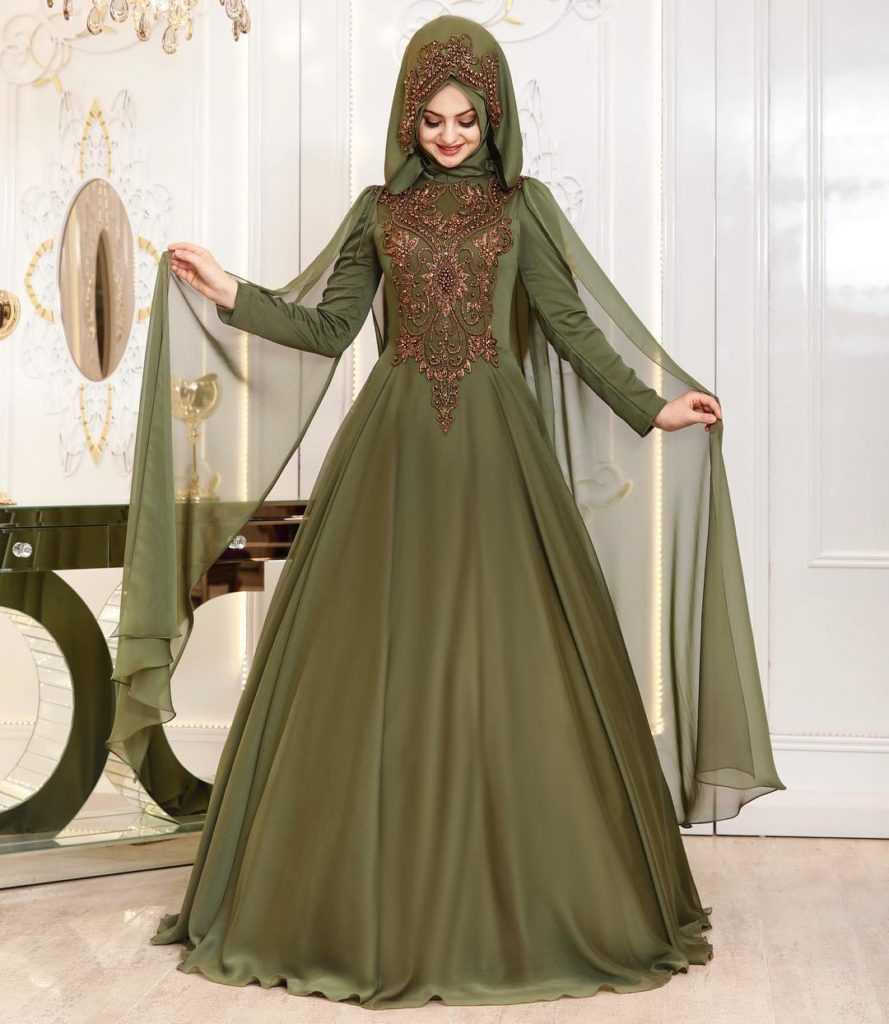 Pınar Şems Şal Kombinli Tesettür İşlemeli Abiye Elbise Modelleri