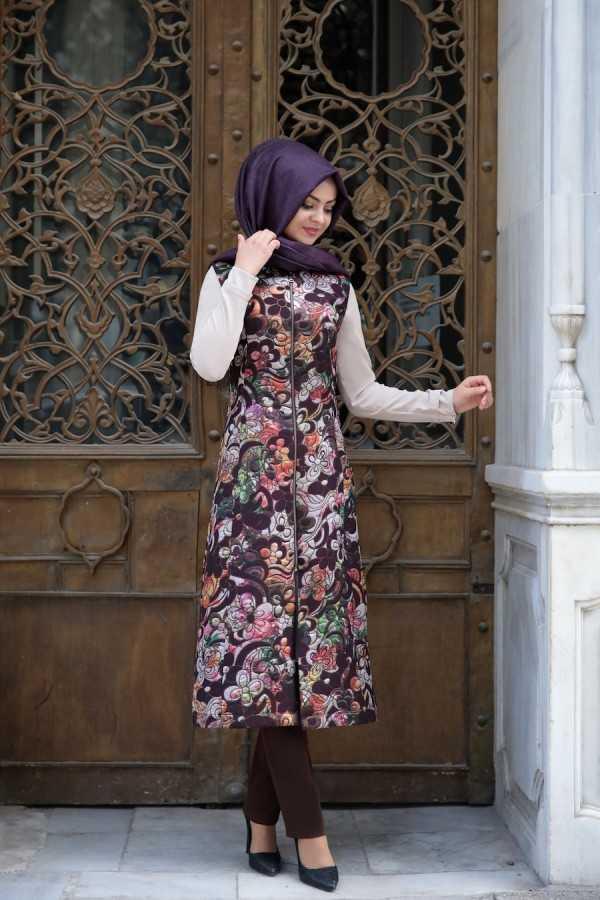 Pınar Şems Tesettür Jakarlı Yelek Modelleri