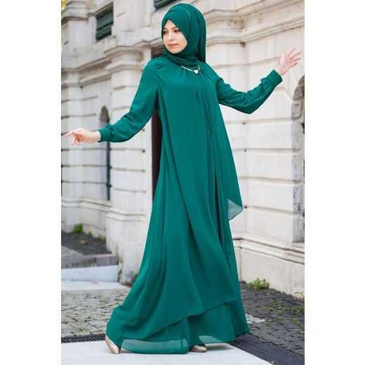Patırtı Şal Kombinli Tesettür Abiye Elbise Modelleri