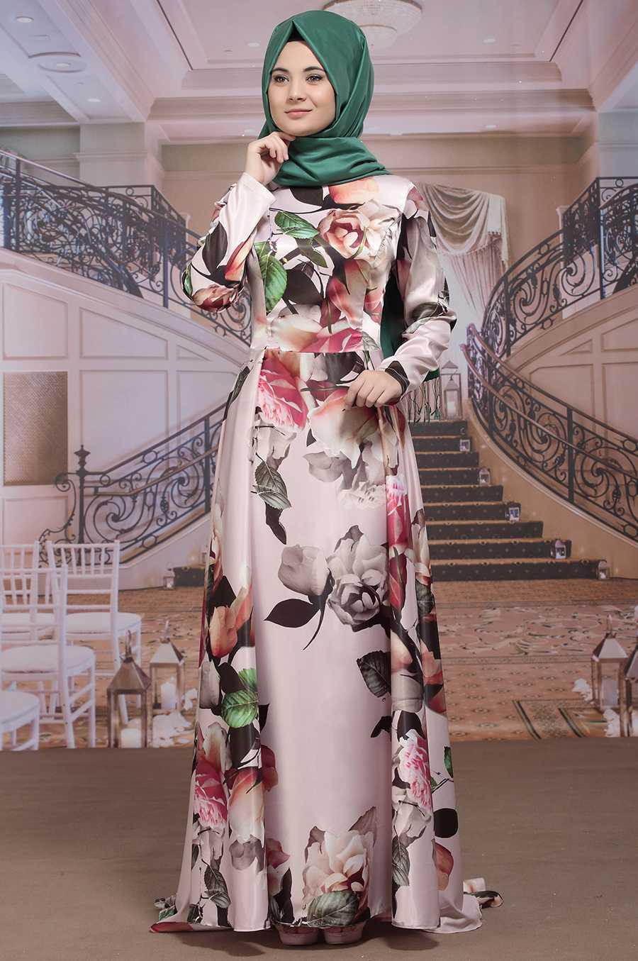 Sümay Moda Tesettür Desenli Abiye Modelleri