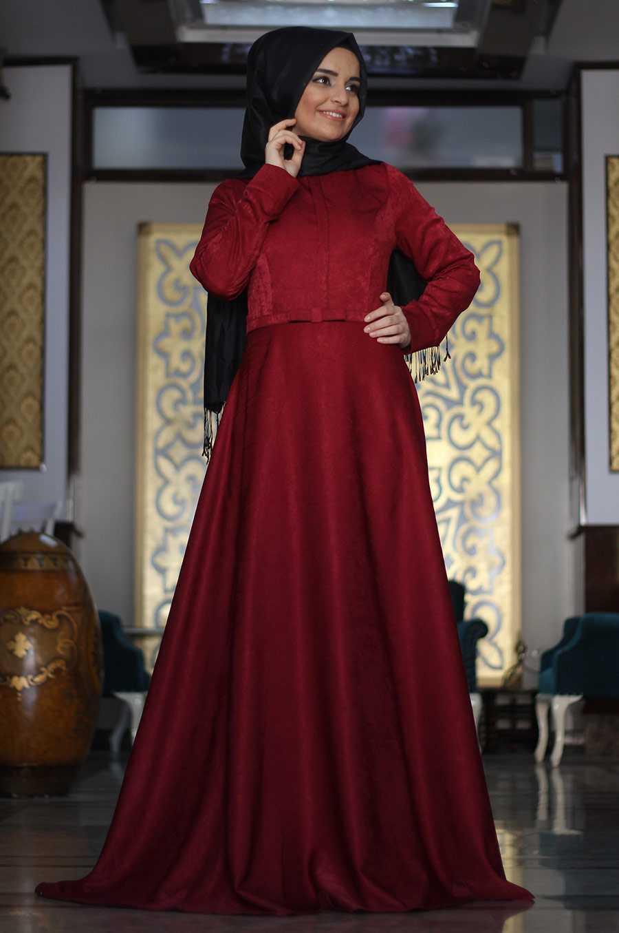 Sümay Moda Tesettür Kadife Elbise Modelleri